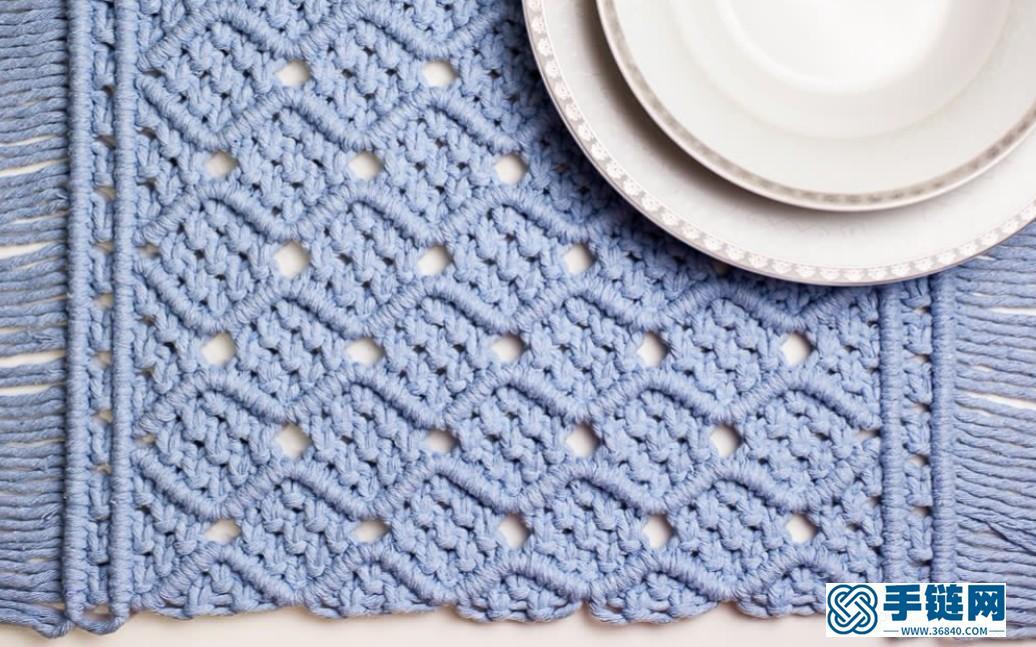 Macrame编织浅蓝波浪花纹餐垫,陪你度过特别的用餐时光