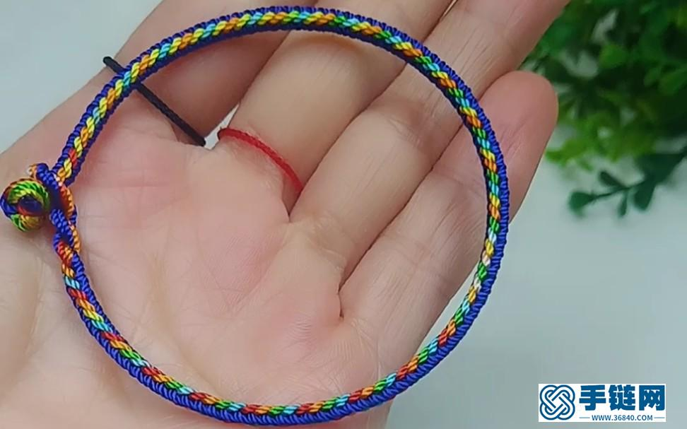 端午五彩手绳,配上彩色小球超好看