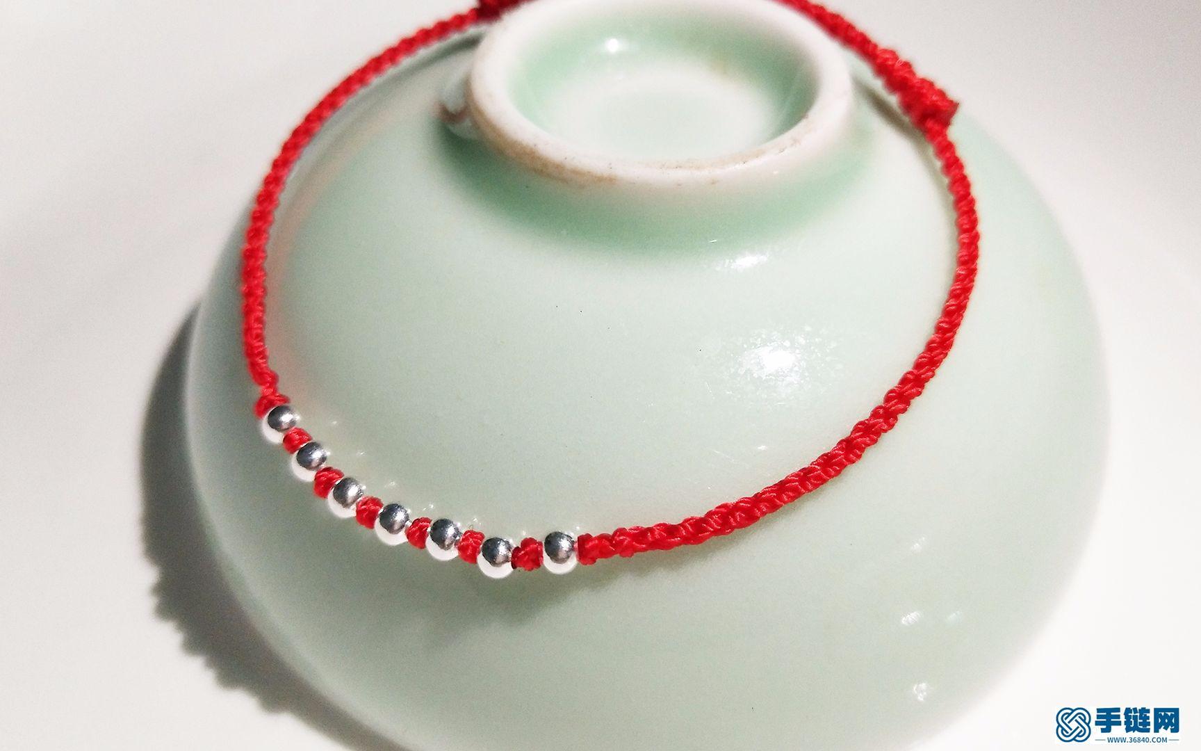 红绳编织:新手必学的手工制作七银珠四股辫红绳手链,超美超简单