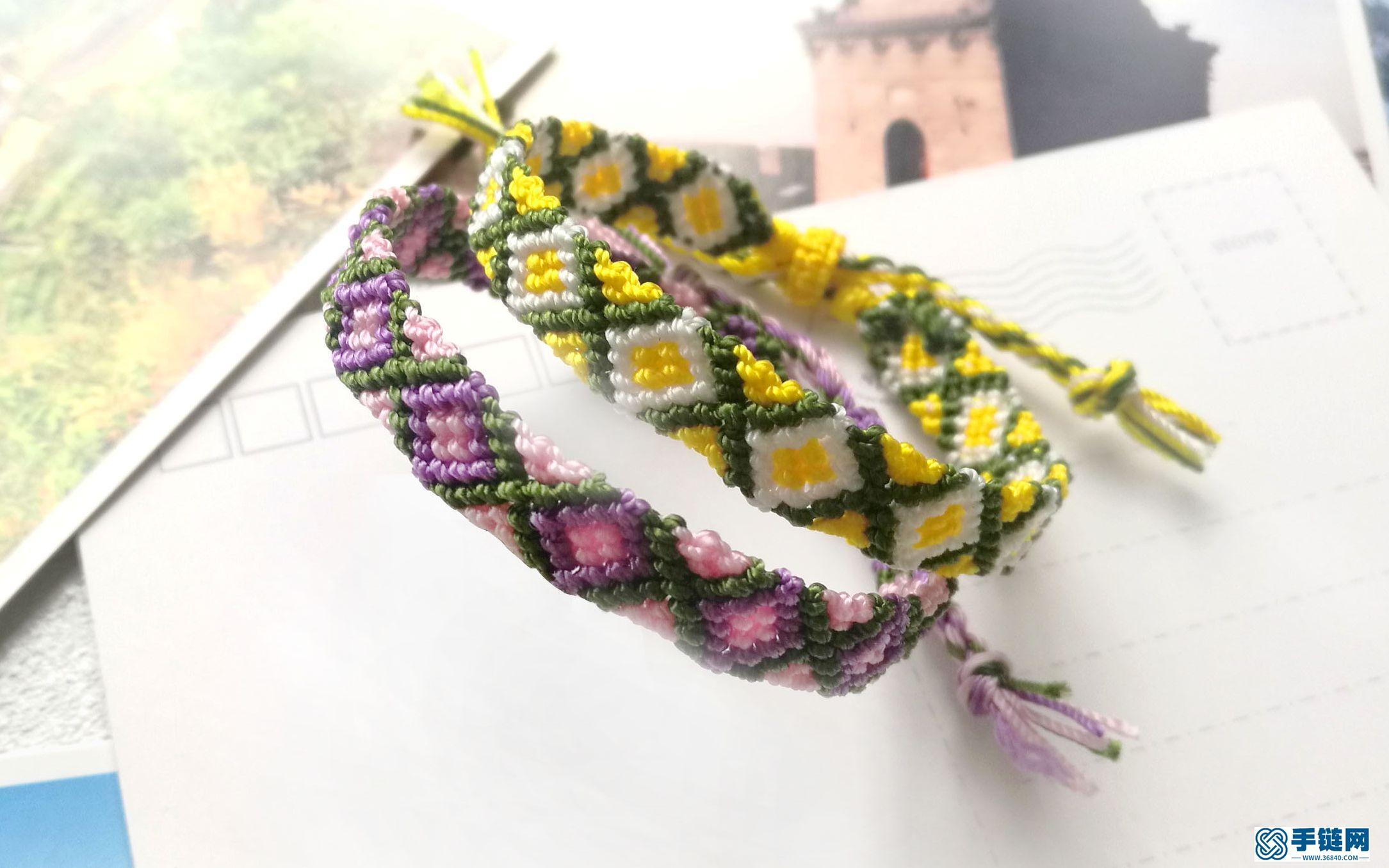 斜卷结应用之薰衣草方块手绳教程