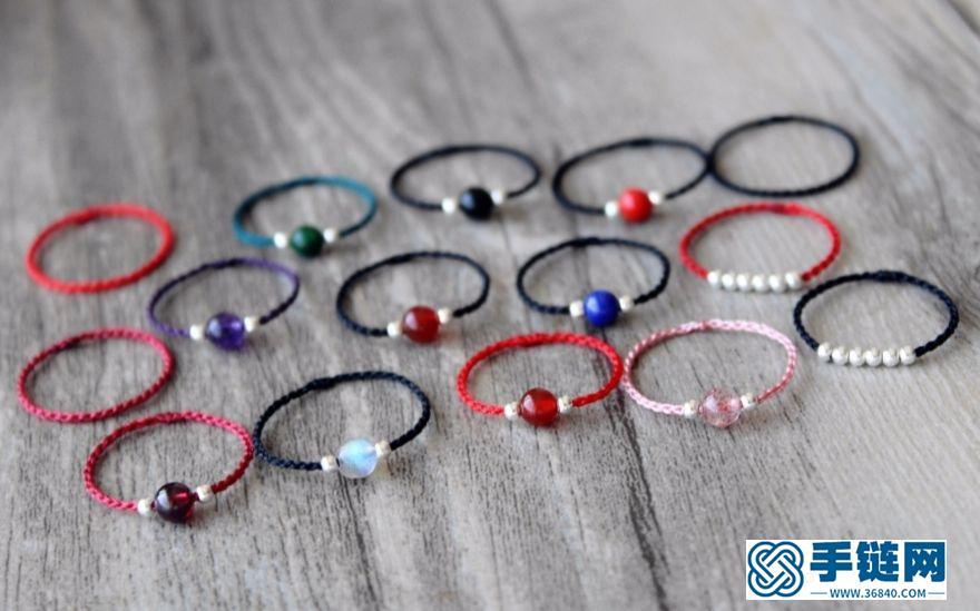 丝黛 极细天然水晶绳编戒指 红绳戒指,又是极细款的挑战哦`我心爱的草莓晶月光石石榴石每天换一个戴~