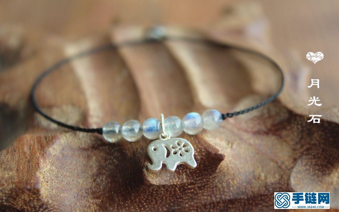 很可爱的手工银小象手绳,搭配月光石小巧玲珑的手绳,戴脚上也是极美