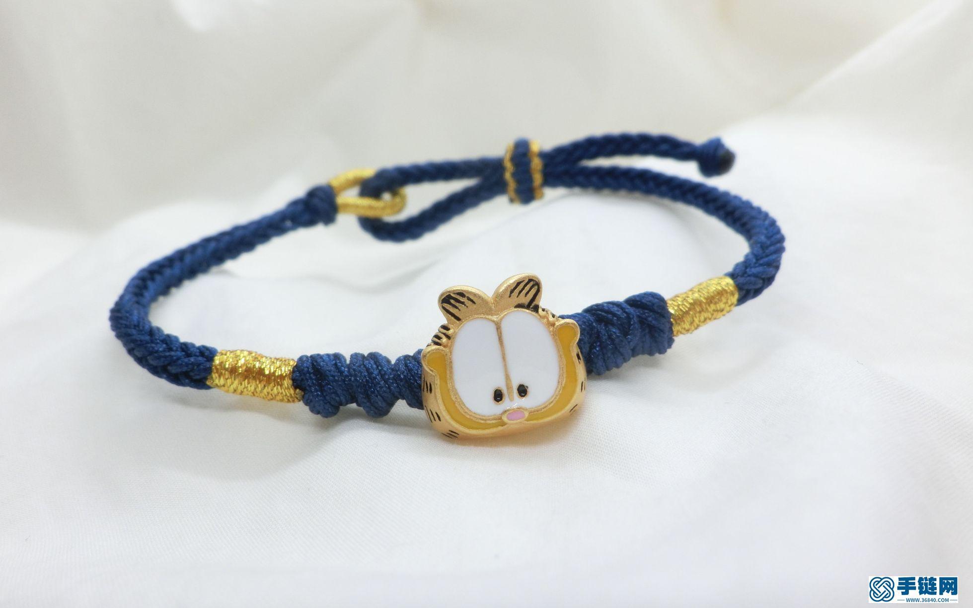 【珊珊】小红书同款的加菲猫手绳,可串自己的黄金转运珠,DIY