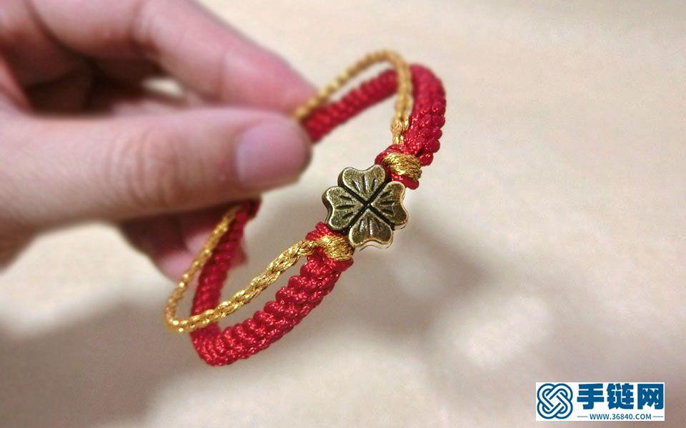跟我学编漂亮的手绳,,一看就会,双层手绳可串转运珠