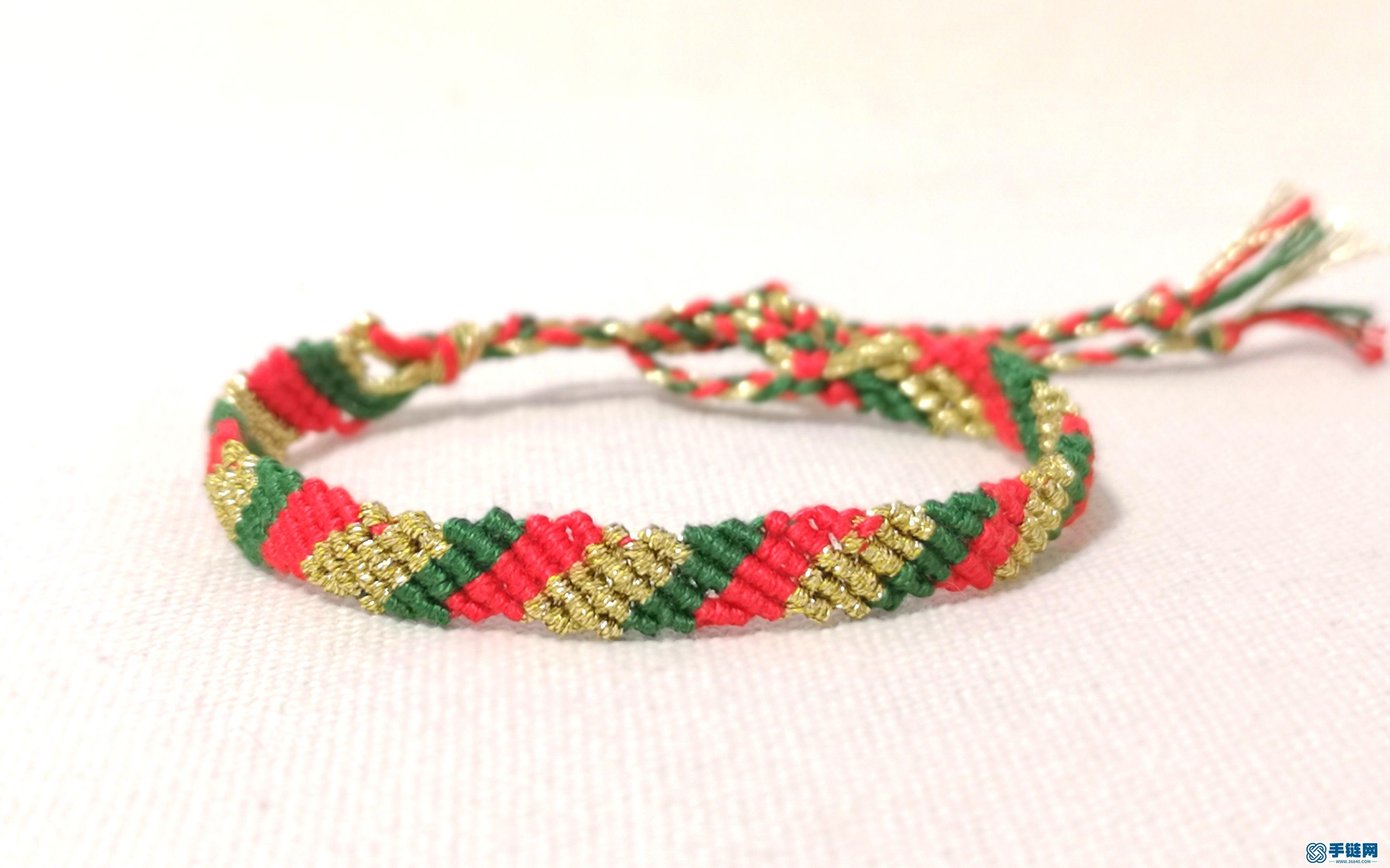 编一个圣诞色系的手链绳,特别好学,一看就会,圣诞礼物有着落了