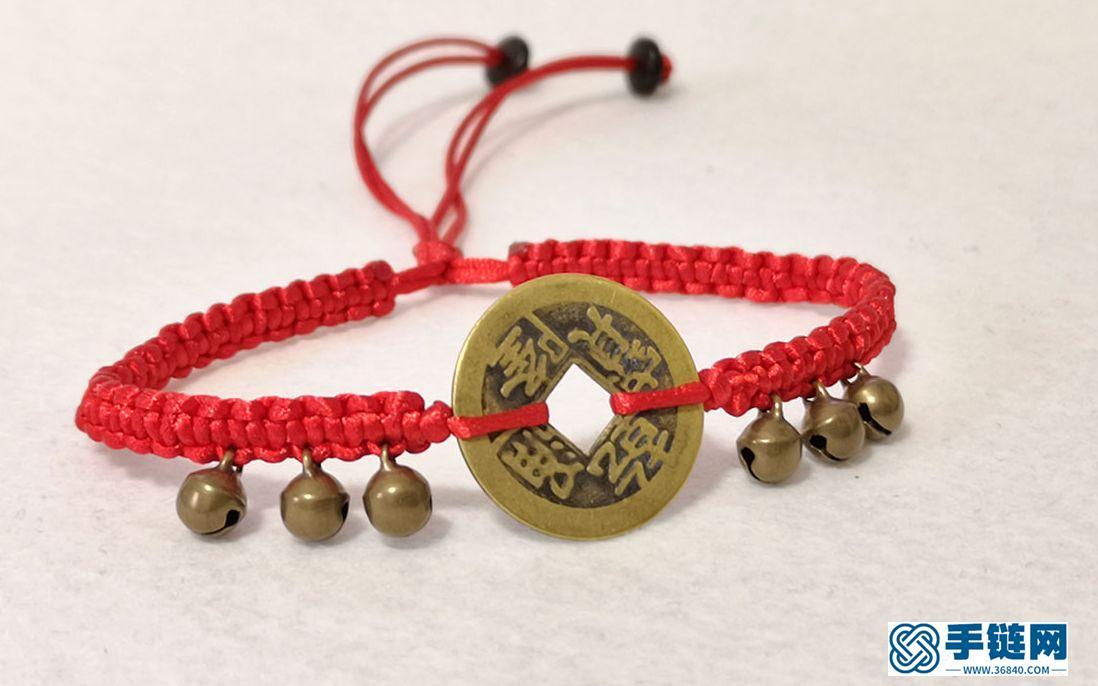 好看吉祥的铜铃铛红绳脚链,分解教学,。