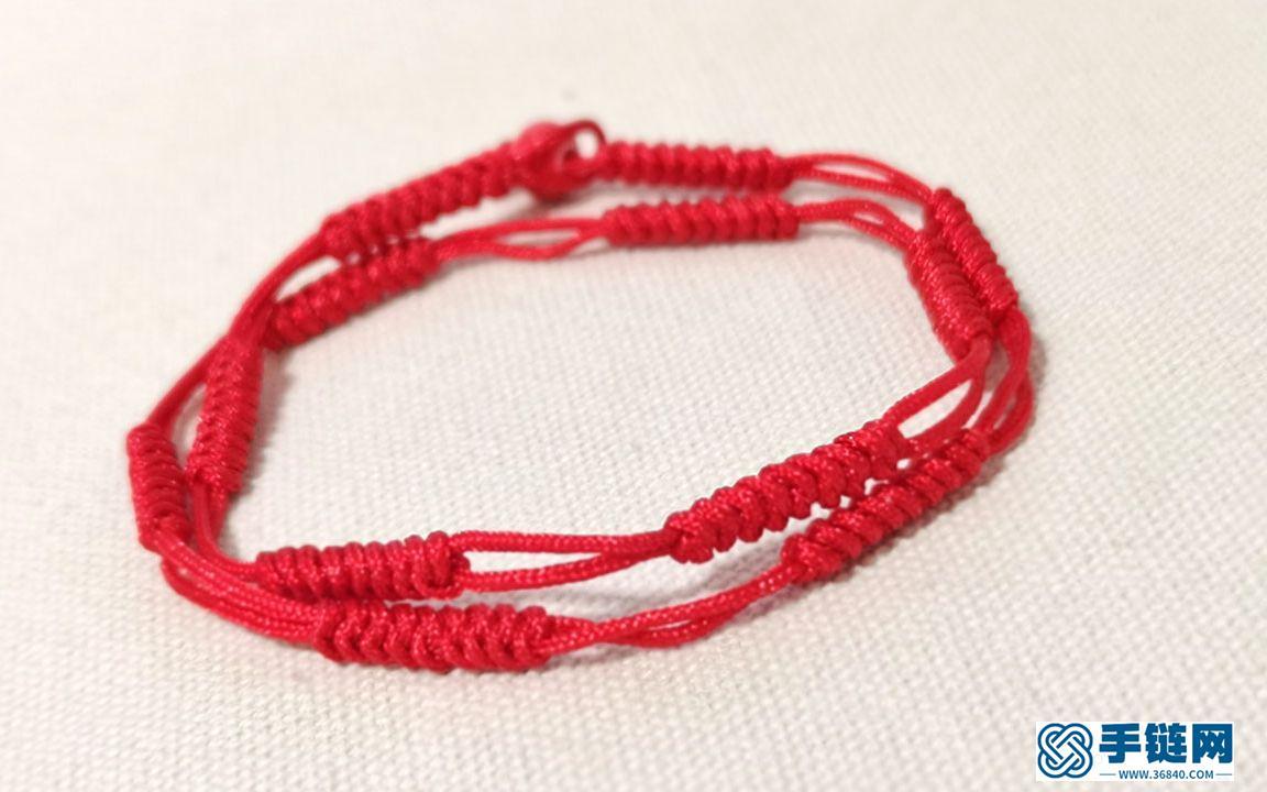本命年戴红绳,教大家编一个简约款的金刚结红绳手链,5分钟编好