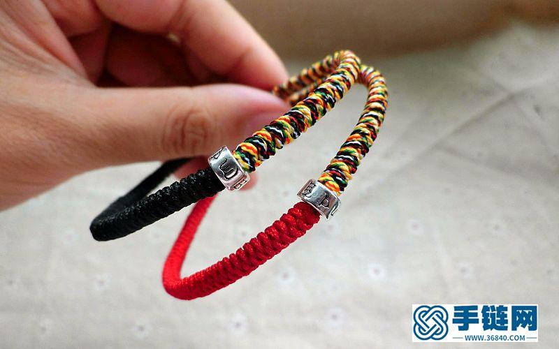 双色金刚结转运珠红绳本命年情侣手链|学编绳|