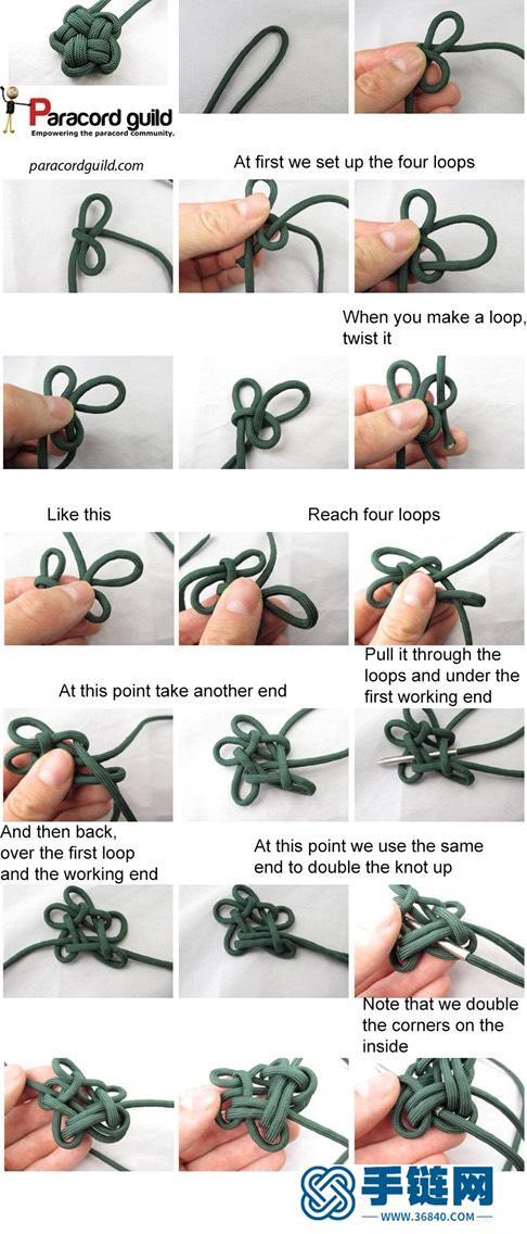 伞绳编:星编绳教程-完整编法步骤