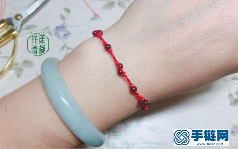 编绳教程-中国结进阶,石榴石蛇结红手绳