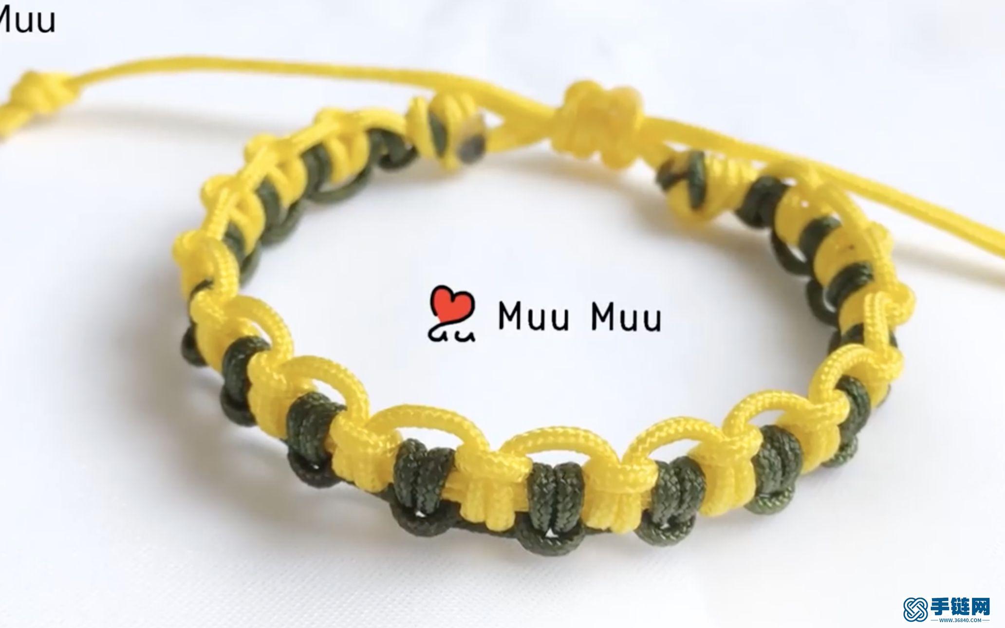 第一次尝试_黄绿色搭配编绳出来的雀头结手环_很美是吧