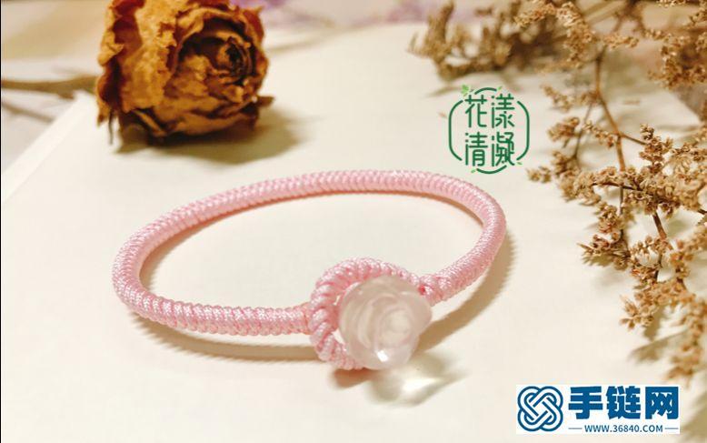 编绳教程-金刚结粉晶玫瑰花手绳,粉粉的,恋爱的味道~O(∩_∩)O~