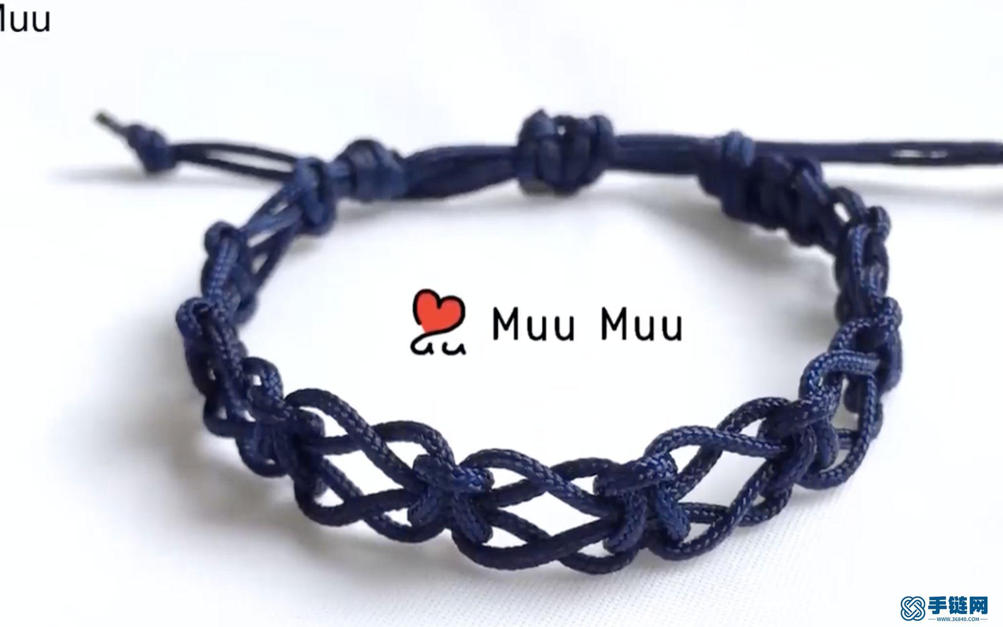 漂亮的深蓝色蕾丝手环_看不出来是平结编织出来的吧
