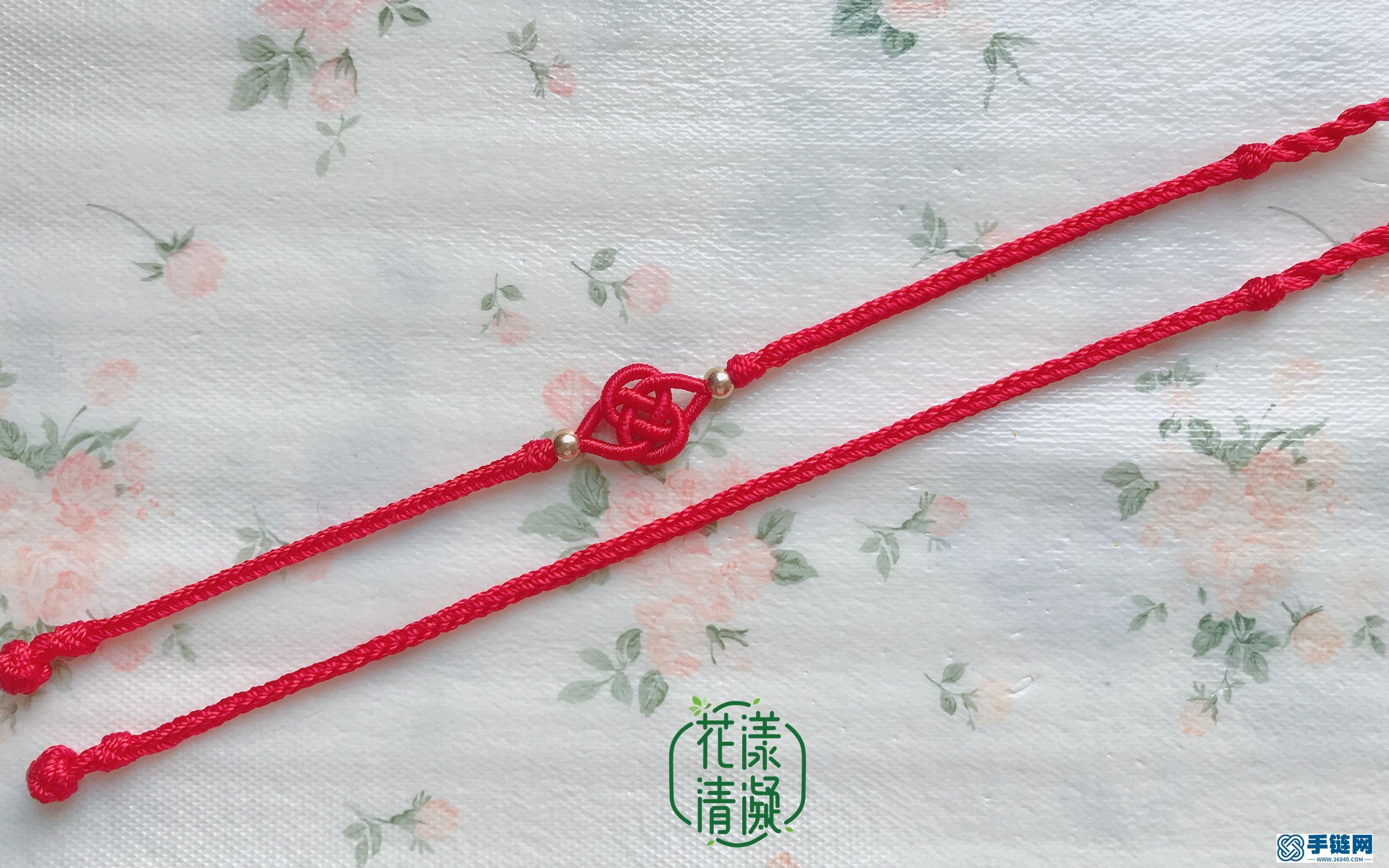 本命年系列,鸿运当头,富甲天下绕线双钱结红手绳
