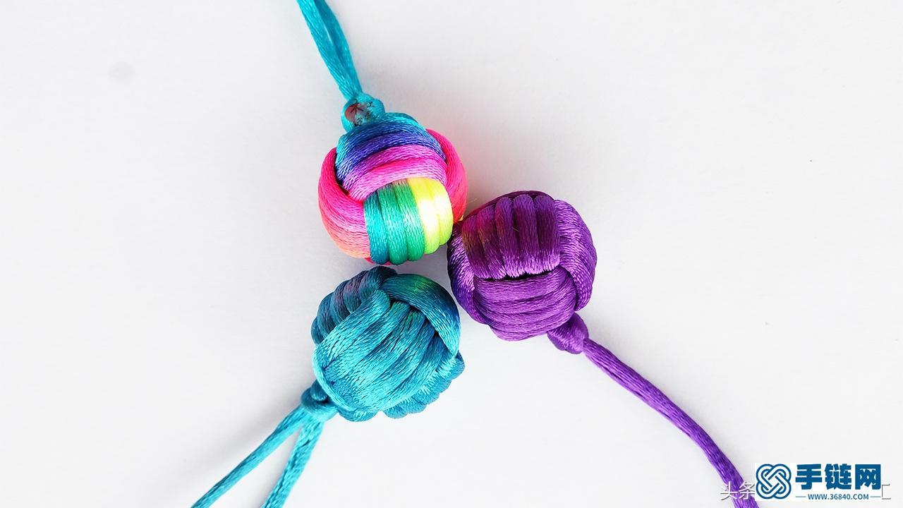 编绳小球结编织方法,球形包包小挂件详细做法
