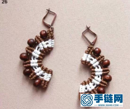 斜卷结耳环教程图解,手工编织中国风饰品