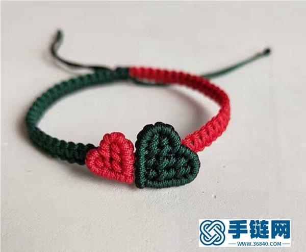 心心相印爱心手链编法教程,心连心斜卷结手绳做法