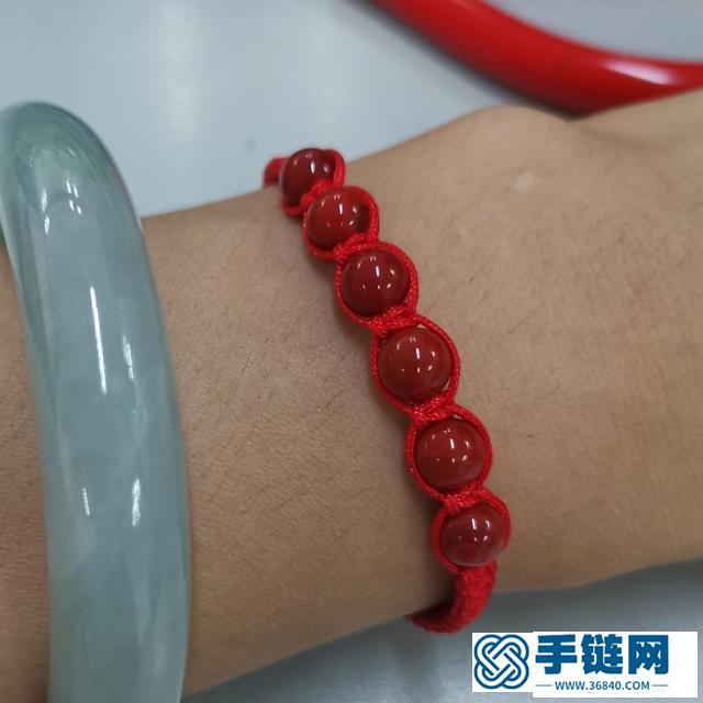 简单玛瑙珠手链编绳方法,平结手链编织结尾图解