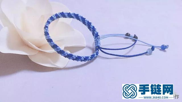 蓝色渐变夏日温情手绳,手把手教你做一条可调节的手链,编绳教程
