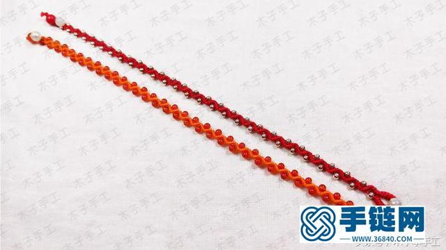 这款波浪串珠红绳手链编法超简单,你一定会喜欢