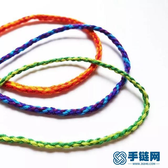 绳编图解教程:4股、6股、8股编织圆形手绳
