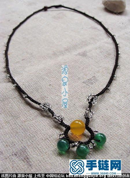 原创黄绿玛瑙手工编织项链