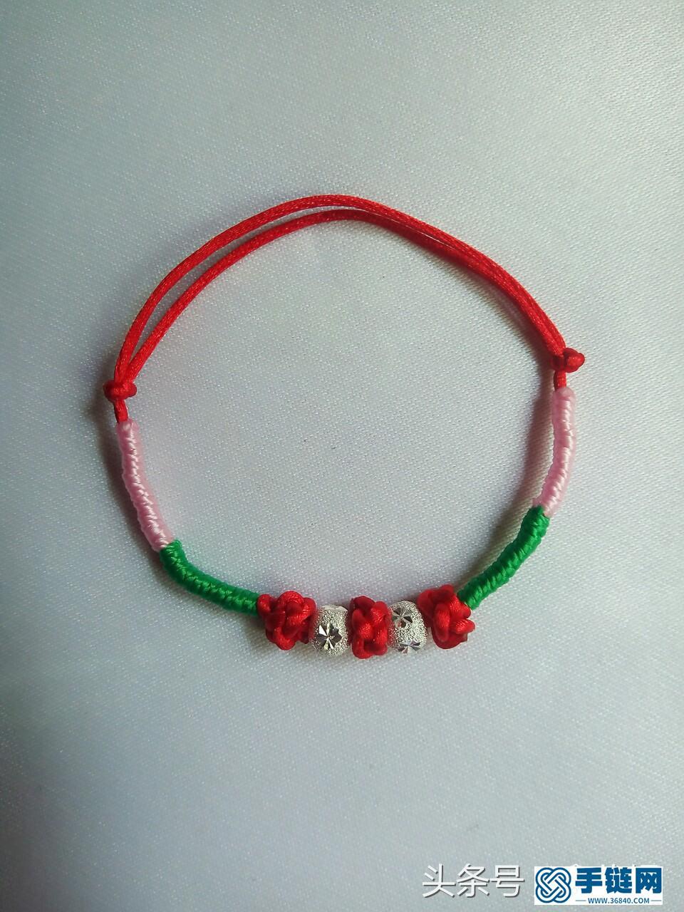 简单红绳手链编法,附菠萝扣教程步骤