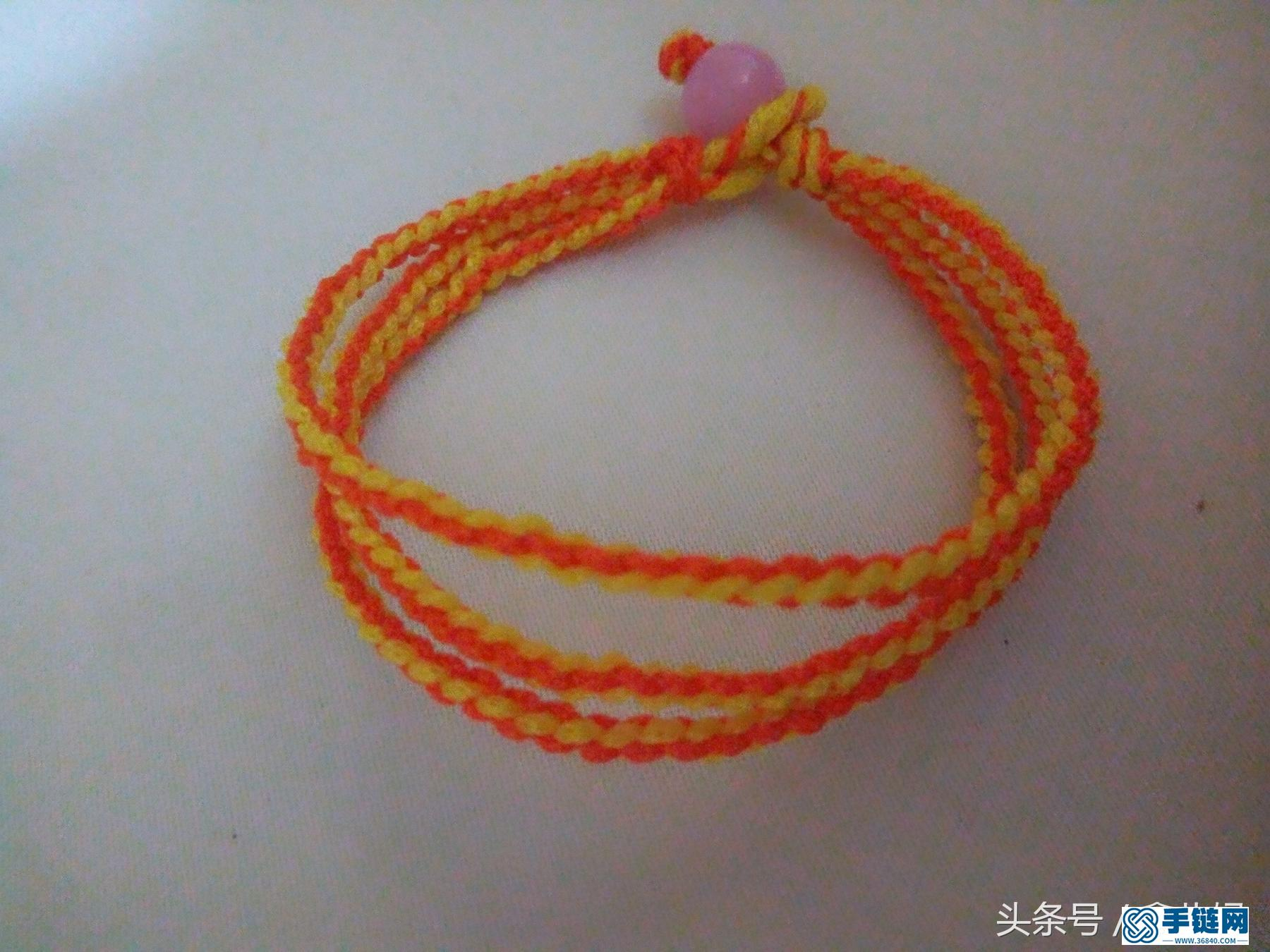 三生红绳手链编法,简单四股编组合