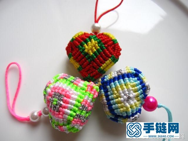 桃心香包的做法图解,编绳香囊挂件教程
